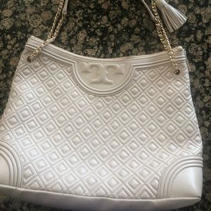 Tory Burch Marion Quilted Tote - Taupe